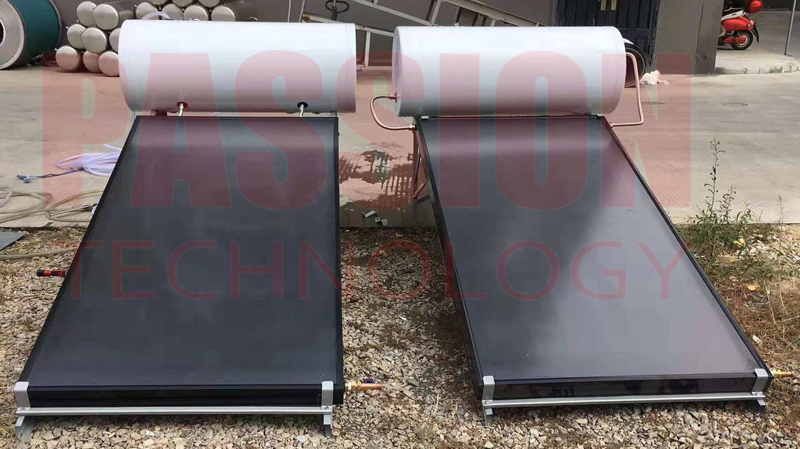 150L Flat Plate Pressurized Solar Water Heater , Solar Hot Water System White Painted Steel Outer Tank