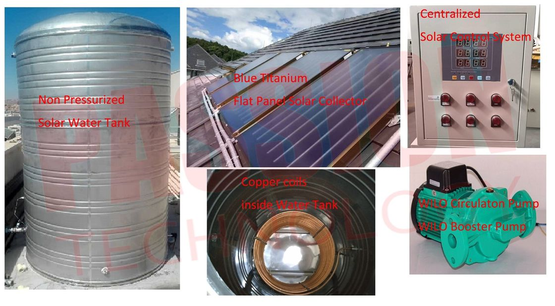 3000L 5000L Centralized Solar Water Heater Blue Coating Flat Plate Solar Collector